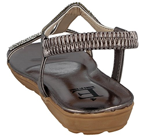Emma T Low Open Footwear Foster Sling by Wedge Diamante 3 Pewter Flat Ladies Back Jewel Bar 8 Diamante Shoes Elastic Toe Metallic Sandals Pewter Detail Size qCIqxZpwWz
