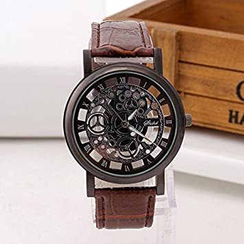 Fashion Business Skeleton Watch Men Engraving Hollow Reloj Hombre Dress Quartz Wristwatch Leather Band Women Clock
