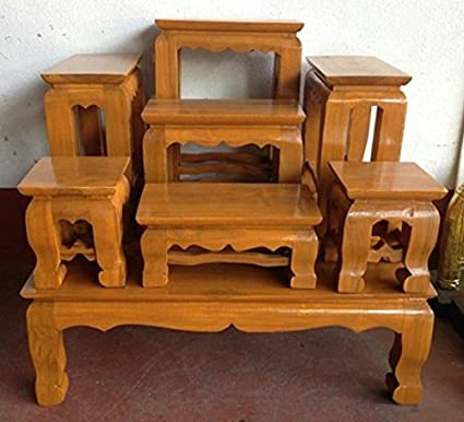 Amazon.com: Set Of Altar Table, Thai Buddha Show Table Set Made from ...