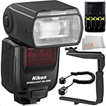 Nikon SB-5000 AF Speedlight 9PC Accessory Kit. Includes 4 AA Batteries with Charger + Shoe Cord + 180 Degree Flash Fracket + Flash Diffuser + Microfiber Cleaning Cloth