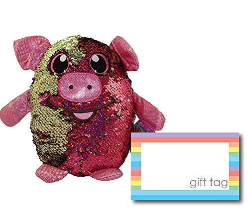 le Sequin Plush, Animal Plush Toys, Sequined Stuffed Cuddle Toys, Unique for Kids, Birthday Gift Ideas for Children (Polly The Pig) ()