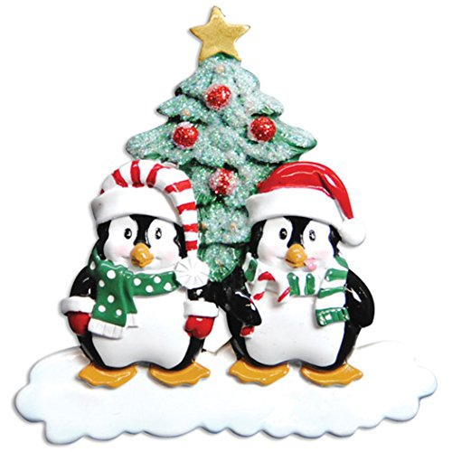 Personalized Penguin Family of 2 Christmas Ornament for Tree 2018 - Happy Cute Couple Sibling Friends Santa Hat - Glitter Playful Snow Romantic Traditional Winter - Free Customization by Elves (Two) by Ornaments by Elves