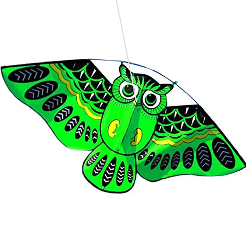 (Gbell Amazing 3D Owl Kite Fun Outdoor Flying Activity Game with Tail for Children Adults, (Green) )