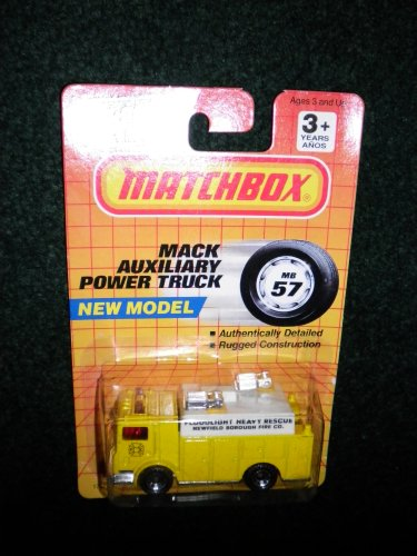 Heavy Rescue Truck - 1991 MATCHBOX #57 FLOODLIGHT HEAVY RESCUE YELLOW FIRE TRUCK
