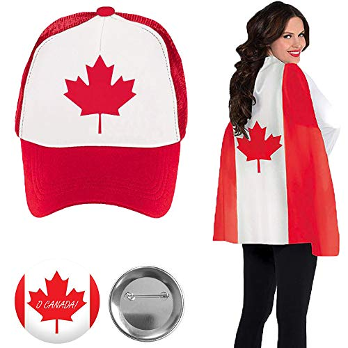 (Unisex Red and White Canada Day Party Supplies Wearables Pack With Canadian Flag Cape, Maple Leaf Canda Day Glasses, and Exclusive O Canada Pin By Another Dream )