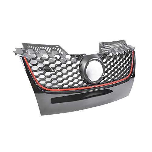 (VW Jetta GTI GLI MK5 06-09 Honeycomb Front Bumper Upper Mesh Grille Black Red)