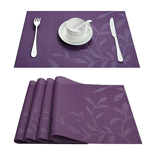 Top Finel Eco-friendly Colorful Rectangle Jacquard Leaf Woven PVC Place Mats for Dining Table 12