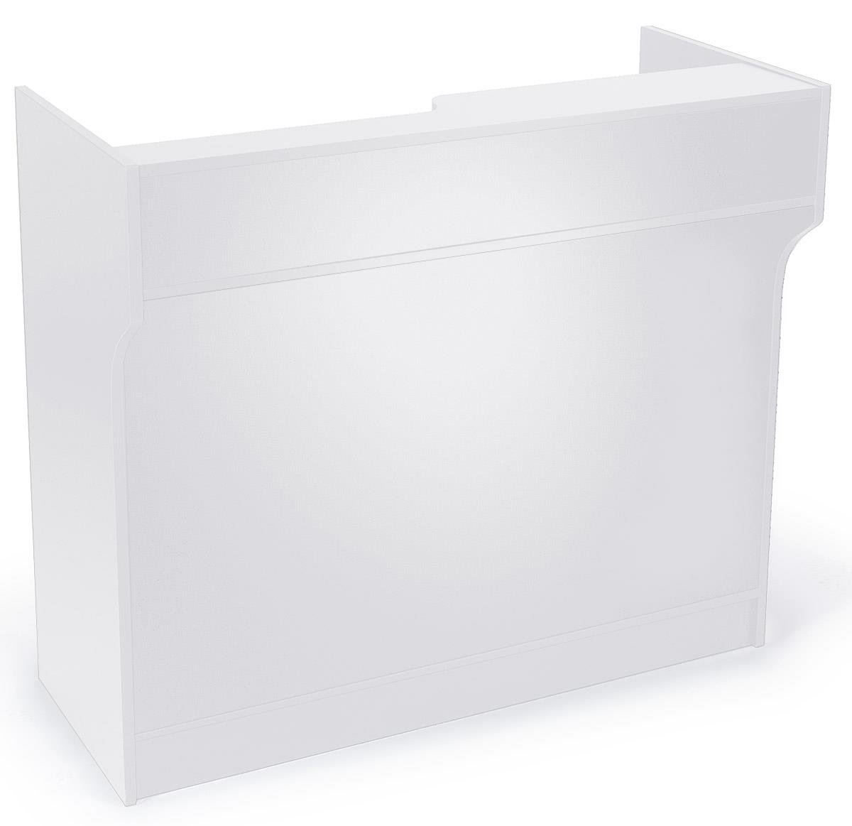 "Displays2go 48"" Cash Wrap with Storage, Laminated Particle Board, Shelves, Drawer – White Finish (MRCLT48WH)"