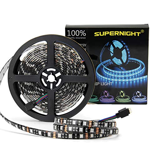 Strip Rgb (SUPERNIGHT 16.4ft 5050 RGB Strip Waterproof Black PCB, 300 LED Color Changing Rope Lights)