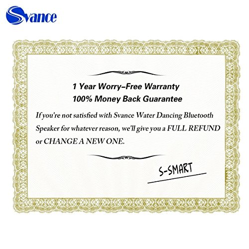 Svance Dancing Water Speaker Portable Wireless Bluetooth Speakers Powerful Stereo Sound and LED Light Show Music Fountain with 3 Play Modes for iPhone, iPad, Laptops, Smartphone by Svance (Image #7)