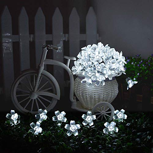 H+K+L 50 LED Beads Plum Blossom String Lights, Decorative Lights with Solar Control, Lights for Home, Window, Bathroom, Wedding, Festival, Holiday (White) by H+K+L