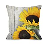 One Bella Casa Fresh Picked Sunflowers Wood Throw Pillow by OBC, 18''x 18'', Gray/Yellow