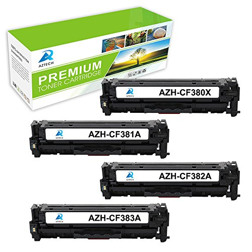 26 Compatible Ink Cartridges (AZTECH 4 Pack Compatible 312X 312A CF380X CF381A CF382A CF383A Toner Cartridge Compatible with Color LaserJet Pro MFP M476nw M476dn M476dw (Black Cyan Yellow Magenta))