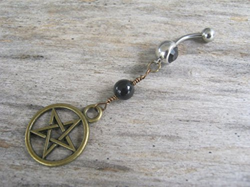 (Personalized Pentacle Belly Button Ring, Black Agate and Antiqued BRONZE Body Piercing Jewelry with Optional Birthstone, FREE USA SHIPPING)
