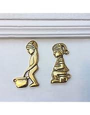 Antiek - toiletten deurbordje messing, deurbordje wc meisjes + jongen toilet borden toilet