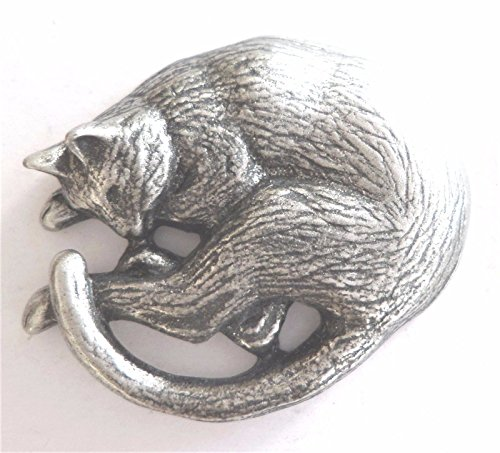 Cat Sleeping Pewter Pin Badge
