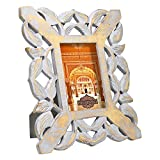 Indian Heritage Wooden Photo Frame 4x6 MDF Cutwork Design Photo Frame in Grey Distress Finish