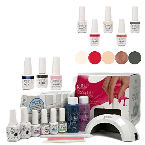 Gelish Mini Harmony Complete Starter LED Gel Nail Polish Kit - Includes 5 ColorsGelish Mini 5 Bottle Soak Off Gel Nail Polish Collection Pack Set Package, 9mL