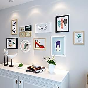 Marco de fotos HJKY pared conjunto de pintura mural de madera fotos de las habitaciones están decoradas con una combinación creativa de bastidor cuadro imagen nórdico minimalista moderno galería de fotos pared,de madera en blanco y negro (precio: 97,00€)