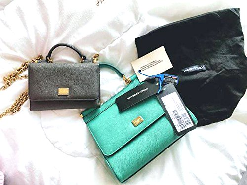 Dolce & Gabbana Dauphine Leather Tote Bag Mini Miss Sicily Green - And Gabbana Sicily Dolce