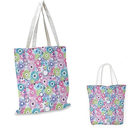 Floral canvas laptop bag Colorful Pastel Pattern with Flowers and Vintage Curls Ornate Style Gerbera Daisies canvas tote bag with pockets Multicolor. 12