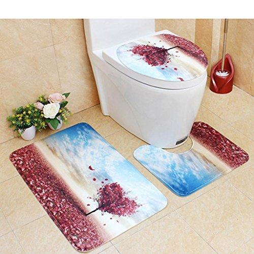 YJYDADA Bathroom Non-Slip Scene Print Pedestal Rug + Lid Toilet Cover + Bath Mat 45X75CM (Wine) by YJYDADA
