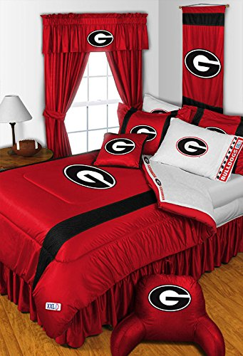 GEORGIA BULLDOGS QUEEN BEDDING SET, Comforter, 4 pc Sheet Set, Boy Football NCAA - Bulldogs Comforter Queen