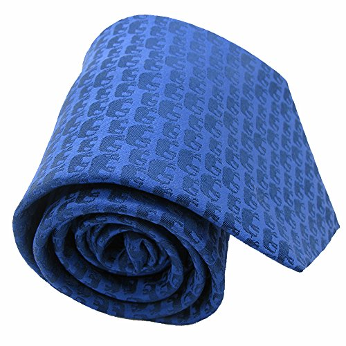 Qobod blue tie silk ties for men silk necktie jacquard novelty necktie elephant pattern necktie gift boxes ties ()