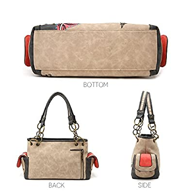 Women Western Top Handle Handbags Carry Conceal Purses Shoulder Bag Rhinestore Studded Feather Vintage