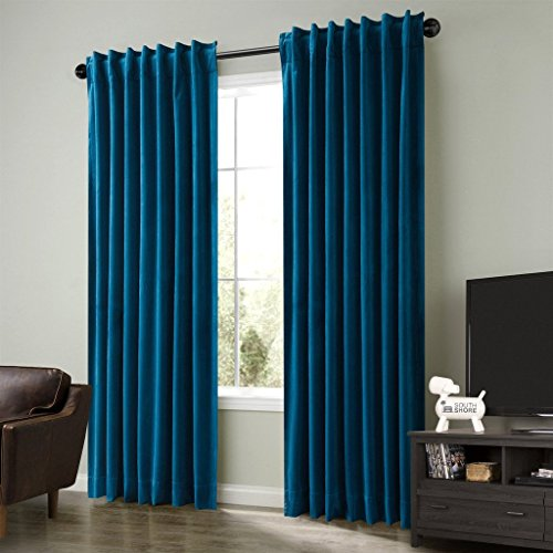 Cottontree Homesoft FirstHomer Set of 2 Solid Matt Thermal Insulated Blackout Velvet Back Tab Rod Pocket Curtains Drapes Panels for Bedroom,Blue,50Wx84L Inch Each