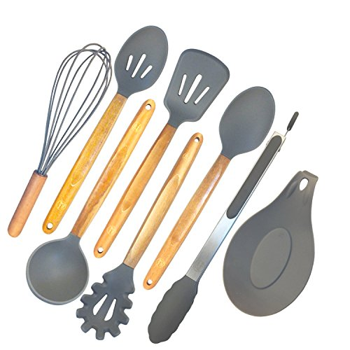 ELLO HOME Silicone Cooking Utensils Set | 8 Piece Kitchen Utensil Set | Natural Acacia Wooden Silicone Kitchen Utensils Set | Silicone Utensil Set for Nonstick Pots Pans Nonstick Cookware Tongs (Non Stick Pot Spoon)