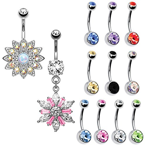 BodyJ4You 12PC Belly Button Rings 14G Dangle Crystal Flower Stainless Steel Navel Piercing Jewelry Set