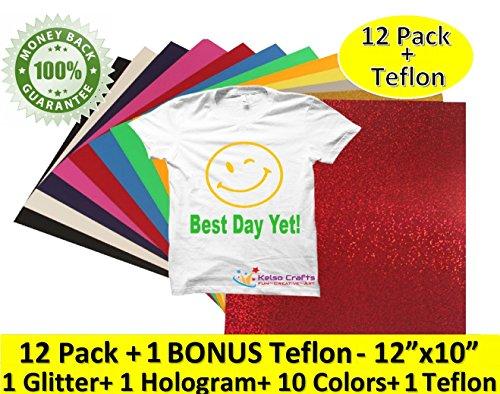 "12 Pack +BONUS Teflon Easy Weed Heat Transfer Vinyl Sheets Bundle 12""x10"