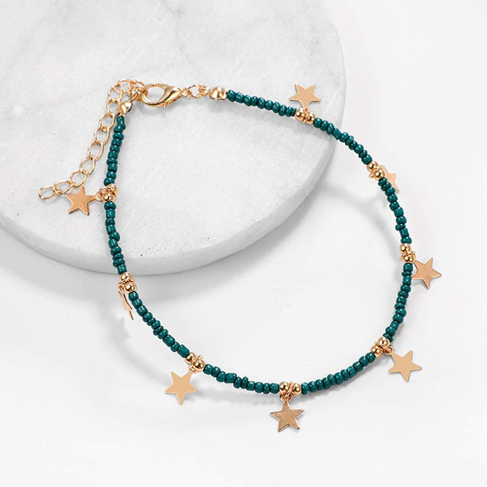 Womens Fashion Five-Pointed Star Pendant Beads Ankle Bracelet Beach Sandal Barefoot Jewelry Butterfly Iron Anklets