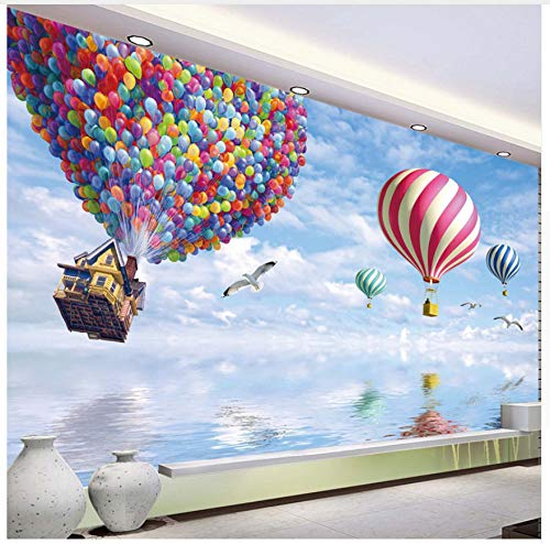 3D Wallpaper Murals Colorful Hot Air Balloon Pattern S Wallpapers Living Room Bedroom Kids Room Tv Sofa Background Decorative Wallpapers Silk Cloth 200X140cm,Ayzr