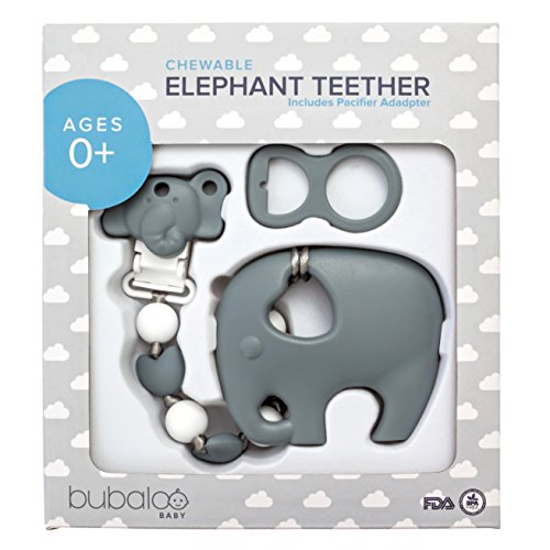 BABY TEETHING TOYS BPA FREE - Silicone Elephant Teether with Pacifier Clip Set for Babies - Freezer Friendly | Baby Shower Gift Idea for Stylish Little Boys and Girls | Soother Binkie Holder - Unisex