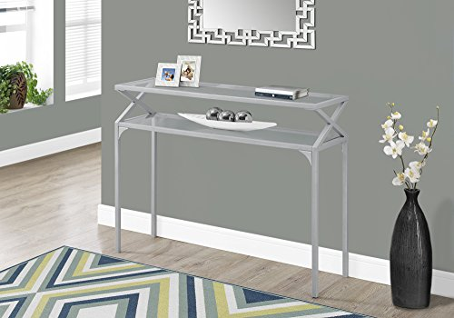 """Monarch Accent Table - 42""""L / Silver Metal Hall Console"""