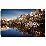 Memory Foam Bath Mat,Yosemite,Yosemite Mirror Lake and Mountain Reflection on Water Sunset Evening View PicturePlush Wanderlust Bathroom Decor Mat Rug Carpet with Anti-Slip Backing,Navy Brown