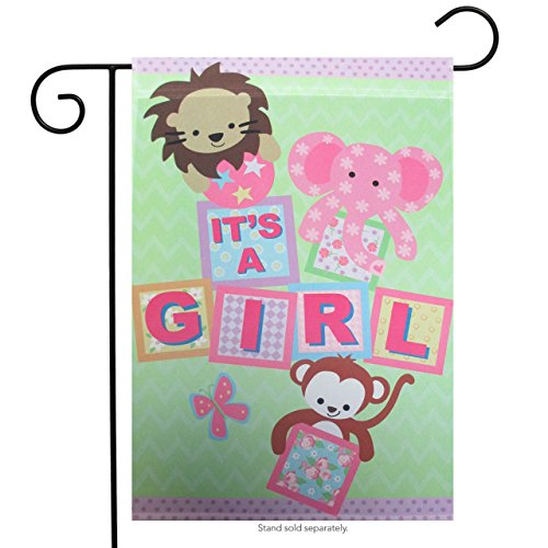 Ganz It's A Girl Building Blocks and Baby Animals Graphic Flag