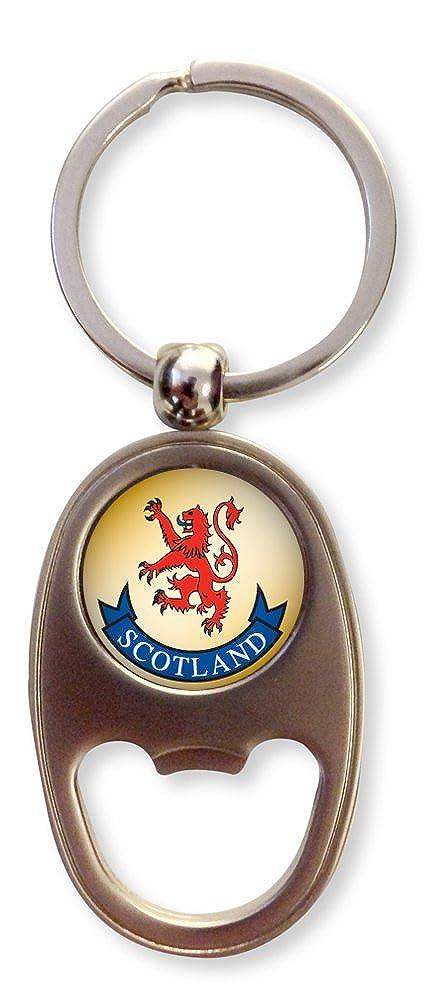Scottish Lion Rampant with Scotland Oval Bottle Opener Keyring Charm