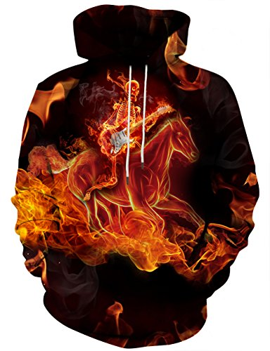 Hgvoetty Unisex Flame Hoodies 3D Printed Fashion Long Sleeves Shirts XXL ()