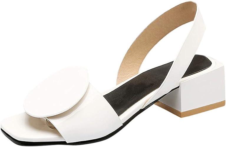 WINJIN Escarpins Femme Ete, Sandales Femme Chaussure à Talon Carré Escarpins Chaussures à Bout Ouvert Talon Aiguille Hauteur 4.5cm Bride Arrière