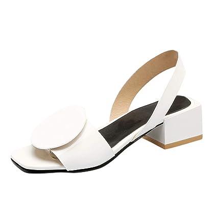 1d969def8a8 Amazon.com  Women Chunky Block Sandal - Ladies Peep Toe Slip On ...