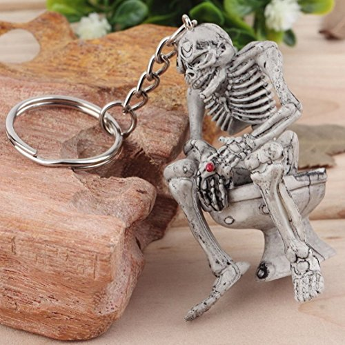 1Pc Imperial Popular Skull Toilet Keychain Fashion Skeleton Rubber Key Ring Creative Trendy Color Grey