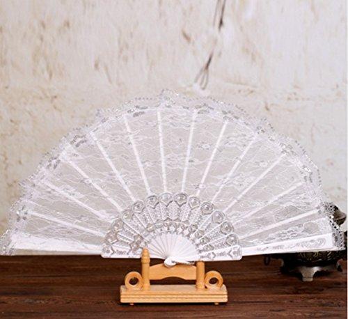 Silver Fashion Vintage Spanish Plastic Golden Lace Flower Decor Party Hand Held Dance Fan Women Summer Party Folding Fan