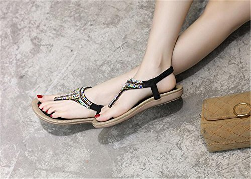 Flat Bohemia Shoes Black Comfort Flip Walking Flops Sandals T Strap Women Beach Summer FOqwqpd0