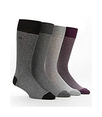 Calvin Klein Men's Fine Stripe Crew Dress Socks 4 Pack One Size Cotton Blend