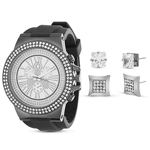 Akademiks Black and Silver Tone Watch with Rhinestone Duo Square Stud Earring Jewelry Set for Men (Black) from Akademiks