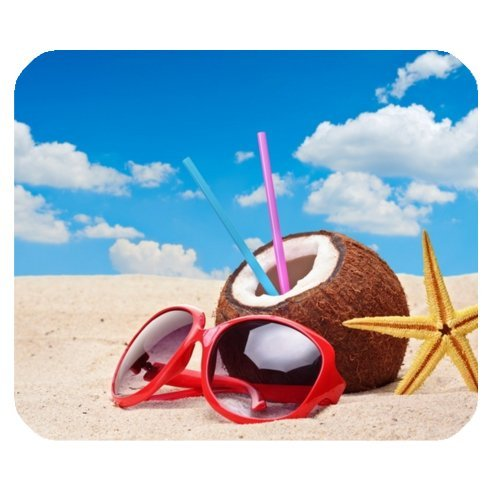 - Starfish, Sunglasses, Coconut on on Sandy Tropical Paradise Beach Rectangle Non-Slip Rubber Mousepad Mouse Pads / Mouse Mats Case Cover