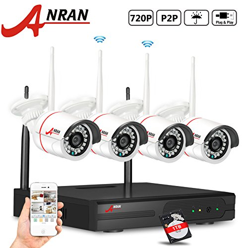 ANRAN 4CH 720P NVR Wireless Home Security System with 4 WiFi